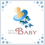 Birth announcement card. Baby birth announcement card with a pacifier and ribbon Stock Photography