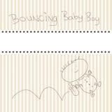 Birth announcement card. Birth announcement of a baby boy card vector illustration