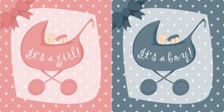 Birth Announcement Cards For Boys And Girls Stock Photos