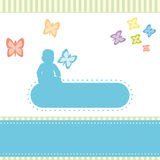 Birth announcements greeting card. Stock Photo