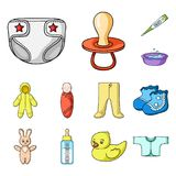 Birth of a baby cartoon icons in set collection for design. Newborn and accessories vector symbol stock web illustration Stock Photo