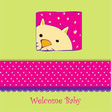 Birth card announcement with cat. Birth card announcement with little cat stock illustration