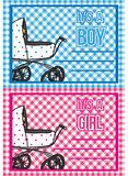 Birth cards. Set of boy and girl announcement card Stock Image