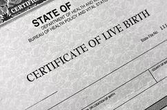 Free Birth Certificate For Live Baby Born Stock Photo - 120894970