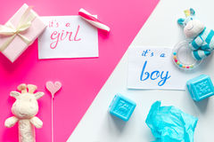 Birth child baby shower concept boy or girl top view. Birth of child - baby shower concept boy or girl top view Royalty Free Stock Photo
