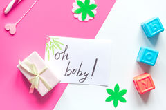 Birth child baby shower concept boy or girl top view Stock Photos