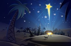 Birth of Christ. Night scene of the birth of Christ in Bethlehem with the star overhead vector illustration