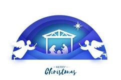 Birth of Christ. Baby Jesus in the manger. Holy Family. Magi. Angels. Star of Bethlehem - east comet. Nativity Christmas stock illustration