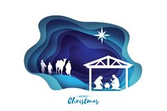 Birth of Christ. Baby Jesus in the manger. Holy Family. Magi. Three wise kings and star of Bethlehem - east comet Royalty Free Stock Photo