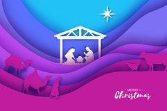 Birth of Christ. Baby Jesus in the manger. Holy Family. Magi. Three wise kings and star of Bethlehem - east comet stock illustration