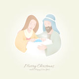 Birth of Christ | Jesus held by Maria and Joseph. | Peaceful Christmas Background Royalty Free Stock Photography