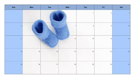 Birth concept: baby booties on a calendar Stock Image
