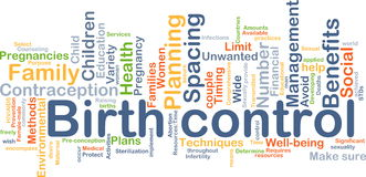 Birth control background concept. Background concept wordcloud illustration of birth control Royalty Free Stock Photo