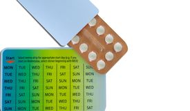 Birth control pills oral contraceptive pills in orange blister pack. Hormone medicine in paper pack. Hormones for treatment. Hormone acne. Anti-acne drug stock photos