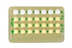 Birth control pills in strip/28 pills Stock Photos