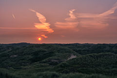 The birth of the day!. Meeting sunrise in the dunes Stock Photography
