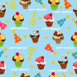 Birth day seamless pattern, vector illustration Stock Photos