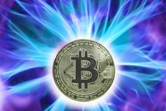 Birth or fork of Bitcoin cryptocurrency. Coin background real cold plasma. btc royalty free stock image