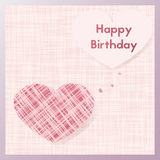 Birth gift greeting card . Postcard textiles in the shape of a heart. Happy birthday. Birth gift greeting card for lovers. Postcard in pastel pink vector vector illustration