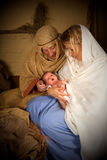 Birth of Jesus. Reenactment of the christmas nativity scene with real people Stock Images
