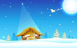 Birth of Jesus. Illustration of nativity scene showing birth of Jesus Royalty Free Stock Photo