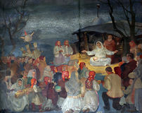 Birth of Jesus. Altarpiece in parish church of Saint Mark in Zagreb, Croatia Royalty Free Stock Photo