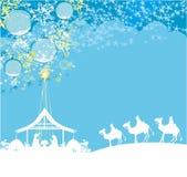 Birth of Jesus in Bethlehem - abstract card. Vector Illustration stock illustration