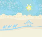 Birth of Jesus in Bethlehem. Biblical scene - birth of Jesus in Bethlehem Royalty Free Stock Image