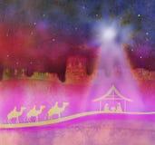 Birth of Jesus in Bethlehem. Biblical scene - birth of Jesus in Bethlehem Stock Photography