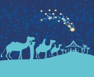 Birth of Jesus in Bethlehem. Biblical scene - birth of Jesus in Bethlehem Royalty Free Stock Images
