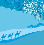 Birth of Jesus in Bethlehem. Vector Illustration Royalty Free Stock Photo
