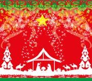 Birth of Jesus in Bethlehem card. Vector Illustration vector illustration