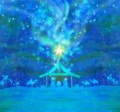 Birth of Jesus in Bethlehem. Birth of Jesus in Bethlehem, Raster Illustration Royalty Free Stock Image