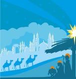 Birth of Jesus in Bethlehem. Vector Illustration Stock Photo