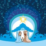 Birth of Jesus in Bethlehem. Vector Illustration Stock Photos