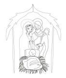 Birth of Jesus in Bethlehem. Vector Illustration Royalty Free Stock Photos