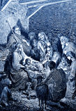 The Birth of Jesus. The biblical theme - illustrated by Gustave Dore (1885 Royalty Free Stock Photo