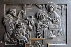 Birth of Jesus. Detail of the entrance door of cahedral of Assumption in Varazdin, Croatia Royalty Free Stock Photos