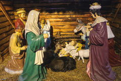 The Birth of Jesus. The canonical gospels of Luke and Matthew both describe Jesus as born in Bethlehem in Judea, to a virgin mother. At birth came three wise men Royalty Free Stock Photo