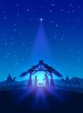 Birth of Jesus. Christian theme, Christmas star on blue sky and birth of Jesus, illustration Stock Image
