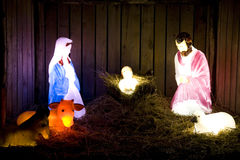Birth of Jesus Christmas lights Stock Photos
