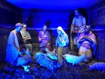The birth of Jesus Crist scene. The nativity scene on display in Vienna, Austria - represented with antique statues stock photo