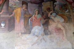 Birth of Jesus, fresco in Santa Maria Novella church in Florence. Birth of Jesus, fresco by Giovanni Maria Balducci in the cloister of Santa Maria Novella stock photography