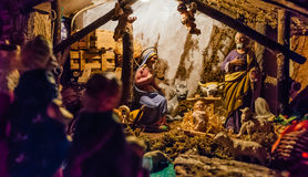 Birth of Jesus in the manger. In a typical italian Presepe Royalty Free Stock Photo
