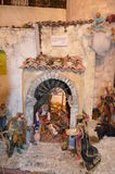 Birth of Jesus in the manger in a typical italian Presepe Royalty Free Stock Photography