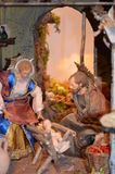 Birth of Jesus in the manger in a typical italian Presepe Royalty Free Stock Photos