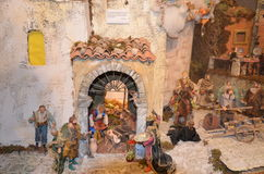 Birth of Jesus in the manger in a typical italian Presepe Royalty Free Stock Photo