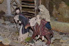 Birth of Jesus in the manger in a typical italian Presepe Stock Photos