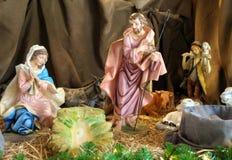 Birth of Jesus  nativity sculpture Stock Photos