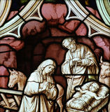 Birth of Jesus (nativity) in stained glass Royalty Free Stock Images